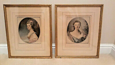 Vintage Pair of Framed Prints ~ Victorian Style BEAUTIFUL LADIES ~ Gold Frames