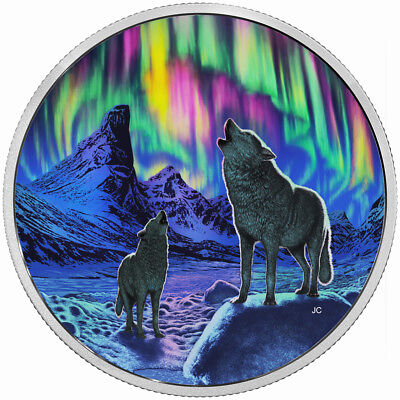 2016 Royal Canadian Mint Northern Lights in the Moonlight Glow in the Dark 2 oz