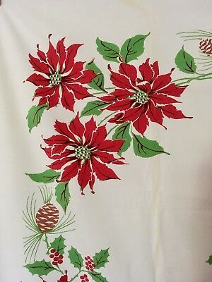 Vintage Printed Christmas Tablecloth ~Classic Candles, Holly, Pine & Poinsettias
