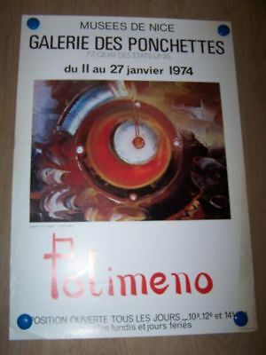 19 Affiche Galerie des ponchettes 1974 Musee Nice Exposition POLIMENO Arts