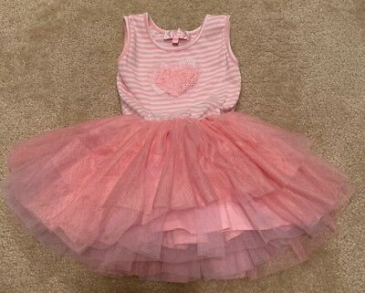Toddler Kids Girls Very Cute Pink Heart Fluffy Tutu Dress Striped Top 2T/3T