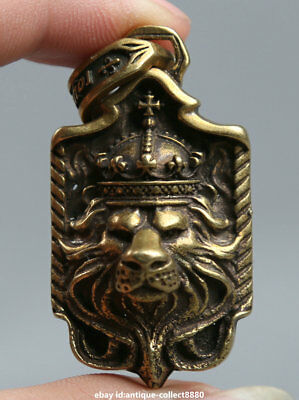 "1.9"" Collect Curio China Bronze Animal Lion Head Beast King Small Amulet Pendant"