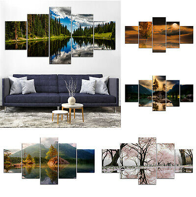 Tree Mirror Lake Nature Canvas Print Painting Framed Home Decor Wall Art Poster