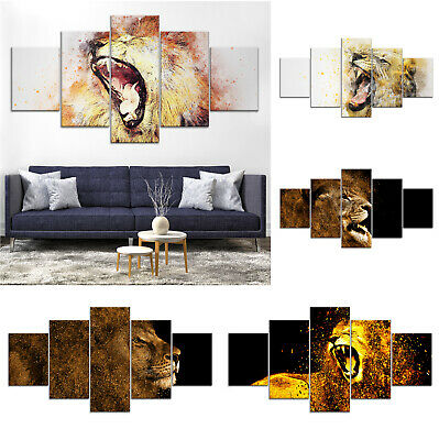 Roaring Lion Animal Abstract Canvas Print Painting Home Decor Wall Art Poster 5P