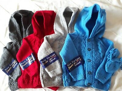 Hand Knitted Boys Hoody Style Cardigan With Mittens To Fit From 6 Months Approx