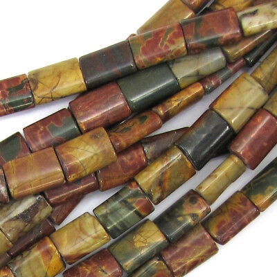 "14mm multicolor picasso jasper rectangle pillow beads 15.5"" strand"