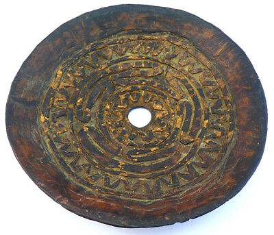 Papua New Guinea, East Sepik, Abelam, Carved Incised Coconut Spinning Top Disc 2