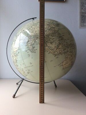 C S Hammond International 18 inch inflatable globe circa 1950s on metal stand