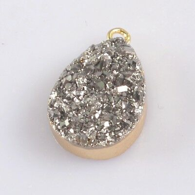 16x12mm Drop Natural Agate Titanium Druzy Charm One Bail Gold Plated H128965