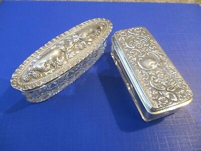 2 Solid silver Ladies dressing table Pin/Cos dishes