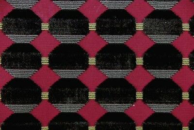 ZOFFANY CURTAIN/UPHOLSTERY FABRIC Abacus 3 METRES CUT VELVET CLARET/CHARCOAL