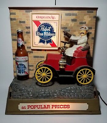 Pabst Blue Ribbon PBR Jalopy Car Motorized Motion Light Lighted Up Beer Bar Sign