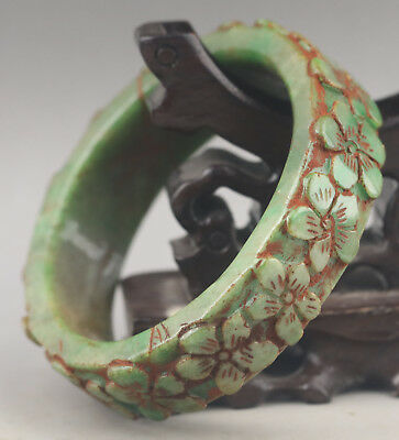 China old jade bracelet hand carved flower bangle NO.G154