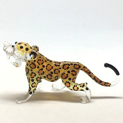 Tiger Blown Glass Animal Figurine Arts Hand Made Collectible Miniature Leo Wild