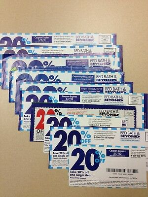 Lot of 10 Bed Bath and Beyond Coupons 20% Off Single Items In-store or Online