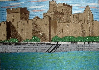 Vintage Hand Embroidered Linen Unframed Picture Peel Castle Isle of Man