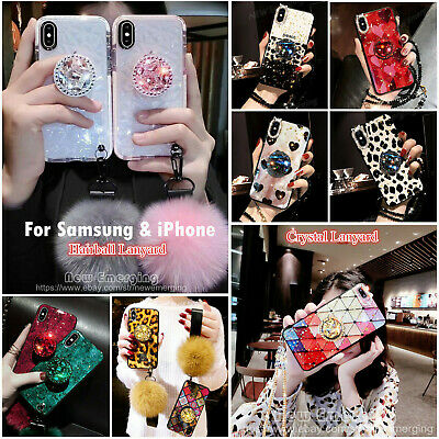 Samsung S8 S9 S10 Note9&iPhone Bling Diamond Stand Plush Ball Strap Glitter Case