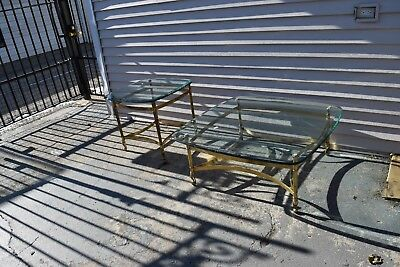 Vintage Pair of LaBarge Solid Brass Coffee Table and Side Table.