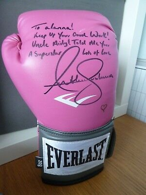 ANTHONY JOSHUA SIGNED BOXING GLOVE - DEDICATED -8oz EVERLAST LADIES PINK GLOVE