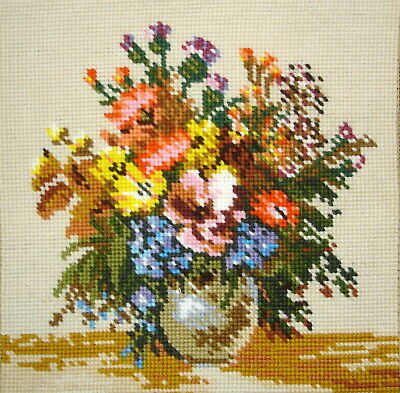 Collection D'Art Completed Cross Stitch Tapestry Picture Unframed Flower Vase