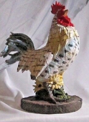 "Blue and White Rooster Figurine  CHICKEN Blue Tale  8"" Tall"