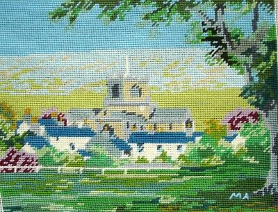 Vintage Completed Cross Stitch Tapestry Picture Unframed Village Church