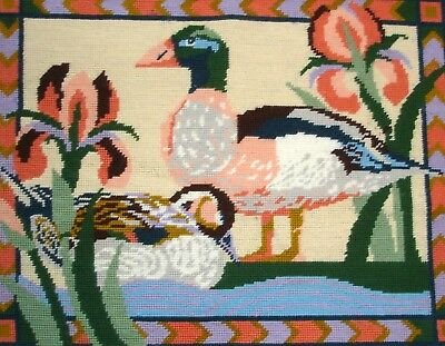 Ehrman Large Completed Cross Stitch Tapestry Picture Unframed Egyptian Ducks