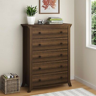 Tall 5-Drawer Chest of Dresser Oak Finish Rustic Pewter Knobs Arched Leg