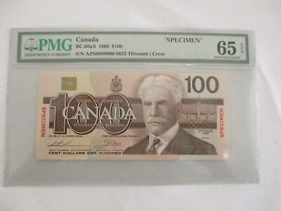 1988 Bank of Canada $100 specimen BC-60aS PMG 65