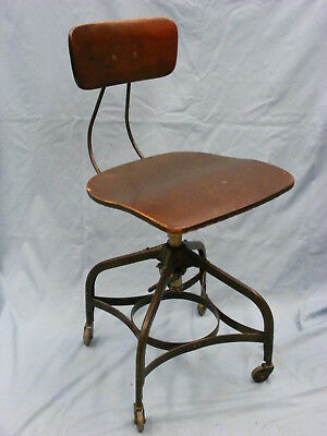 Toledo  Industrial Drafting Chair, Stool Adjustable Rolling Swiveling Steampunk