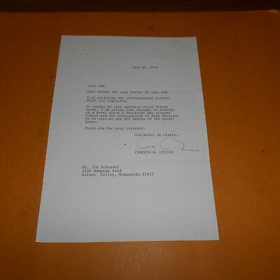 Chuck Colson served as Special Counsel to Nixon Hand Signed 1976 Letter