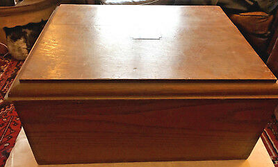 Antique English Oak Fitted Canteen Cutlery Twin Drawer Box Campaign Handles