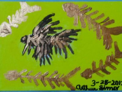 Simo outsider Art. Betta fish Fossil 5 x 7 painting on canvas panel