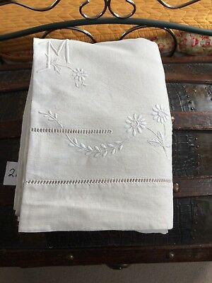 Vintage French Linen/Metis Sheet  - 2.16mW x 3.10mL