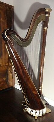 Rare 19th Century Double Pedal 44 String Harp by J. F. Brown & Company, 8 pedals