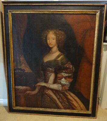 OLD MASTER OIL ON CANVAS, PORTRAIT OF QUEENANNE OF FRANCE IN THE 1600s,PAINTING