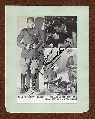"""BUDDY ROGERS & RICHARD ARLEN Classic """"WINGS"""" MOVIE STARS SIGNED PIC ALBUM PAGE"""