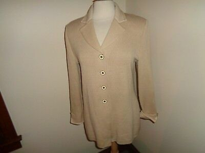 St. John Collection By Marie Gray Beige Santana Knit Blazer Jacket Size 6