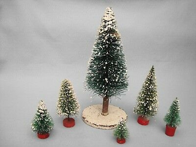 6 Vintage Bottle Brush Christmas Trees With Mica Snow - Various Sizes!