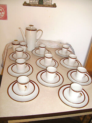 WINTERLING Marktleuthen Kaffeeservice f. 10 Pers. 34 Teile Rot-/Goldrand 60er