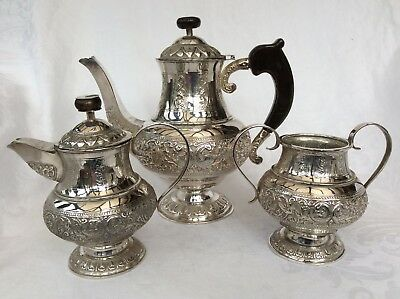 Antique Persian Silver Three Piece Coffee Set