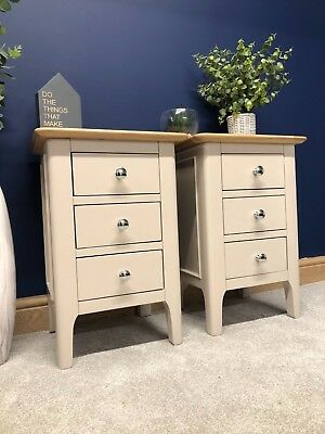 Matching Pair Bergen Painted Grey Oak Bedside Tables Scandi Retro Lamp Cabinets