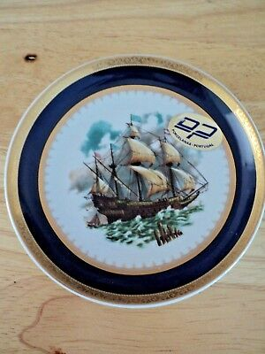 small Nautical Sailing Ship DecoPorce Porcelain Plate from Portugal w/ Gold Trim