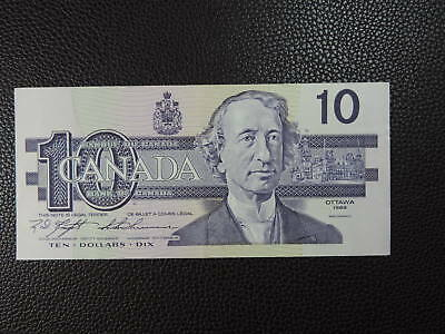 1989 $10 Dollar Bank of Canada Banknote Bill BEH1624550 Knight Thiessen AU Grade