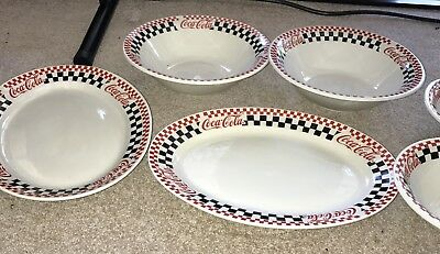 "COCA-COLA Gibson 1996 13.5""Large Serving Platters DishesRed Black Checkered Logo"