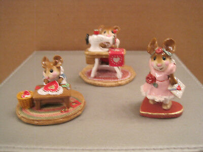 Wee Forest Folk Lot of 3 Valentine pcs. Clementine, Sp. Delivery and Miss Bobbin