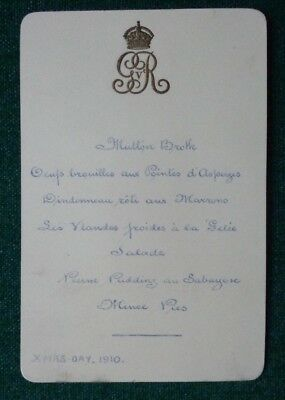 Antique Royal Lunch Menu Guest List King George V Queen Mary Christmas Day 1910
