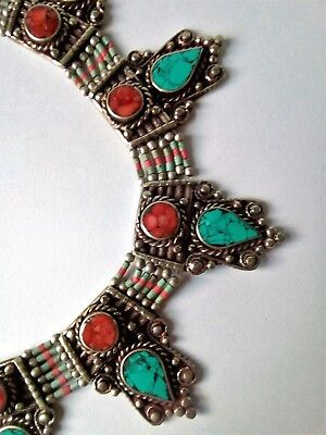 Vintage Tibetan silver necklace inlaid with turquoise & red faux coral