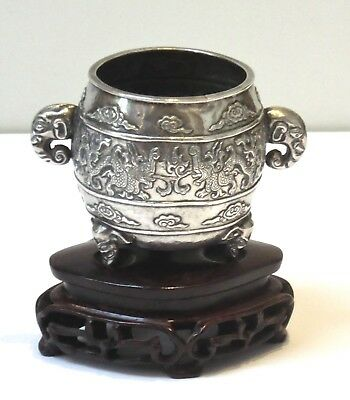 Antique/vtg Chinese silver censer on wood stand-Hu Wen, Sichuan.