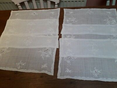Vintage Table Mats Set Hand Embroidery White Cotton Organdie Six
